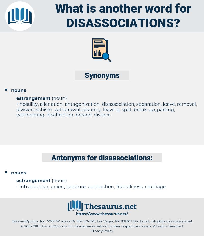 disassociations, synonym disassociations, another word for disassociations, words like disassociations, thesaurus disassociations