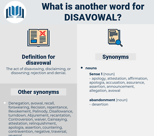 disavowal, synonym disavowal, another word for disavowal, words like disavowal, thesaurus disavowal