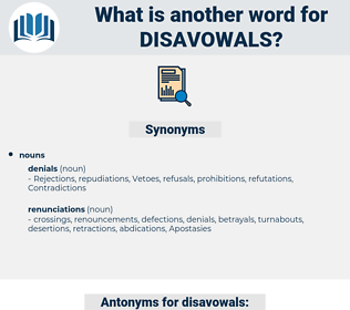 disavowals, synonym disavowals, another word for disavowals, words like disavowals, thesaurus disavowals
