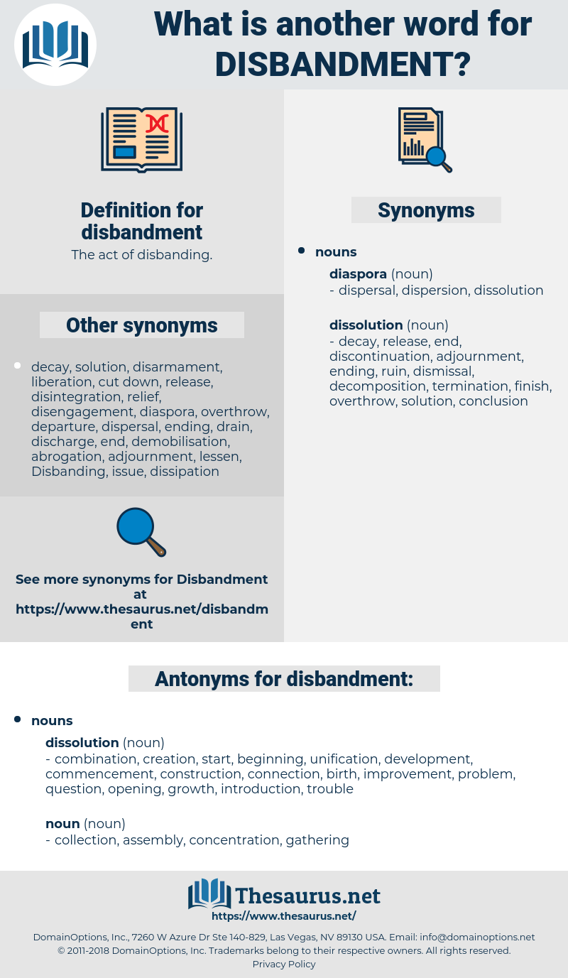disbandment, synonym disbandment, another word for disbandment, words like disbandment, thesaurus disbandment