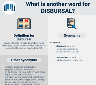 disbursal, synonym disbursal, another word for disbursal, words like disbursal, thesaurus disbursal