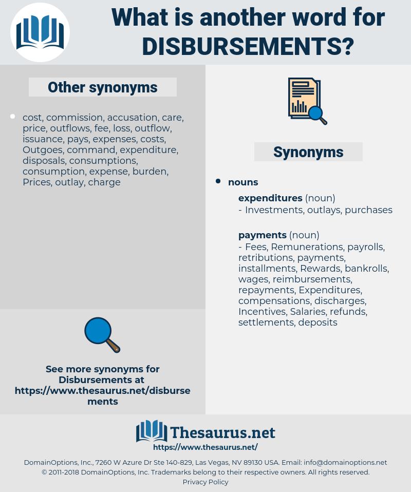 disbursements, synonym disbursements, another word for disbursements, words like disbursements, thesaurus disbursements