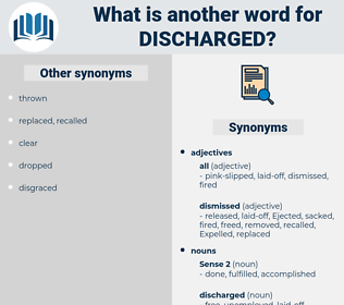 discharged, synonym discharged, another word for discharged, words like discharged, thesaurus discharged
