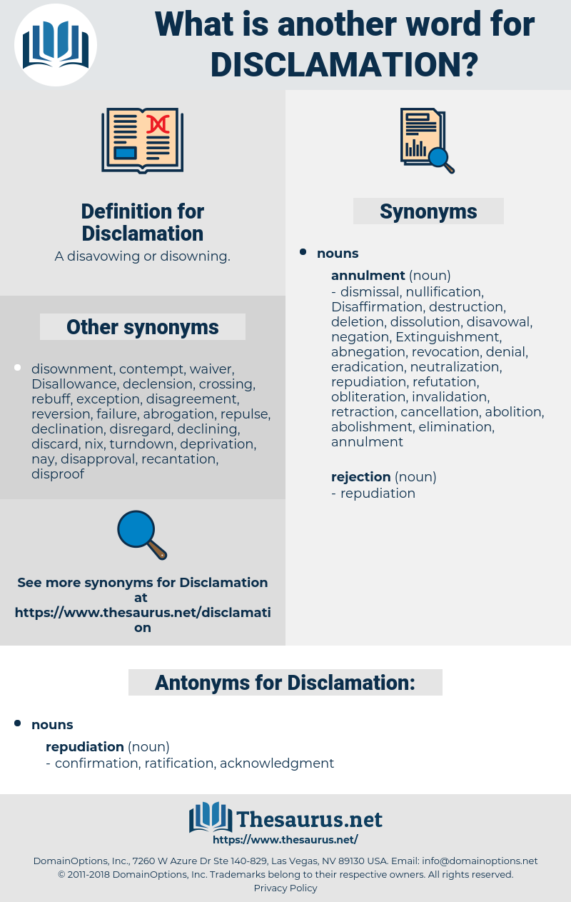 Disclamation, synonym Disclamation, another word for Disclamation, words like Disclamation, thesaurus Disclamation