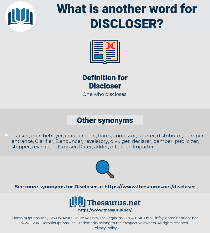 Discloser, synonym Discloser, another word for Discloser, words like Discloser, thesaurus Discloser