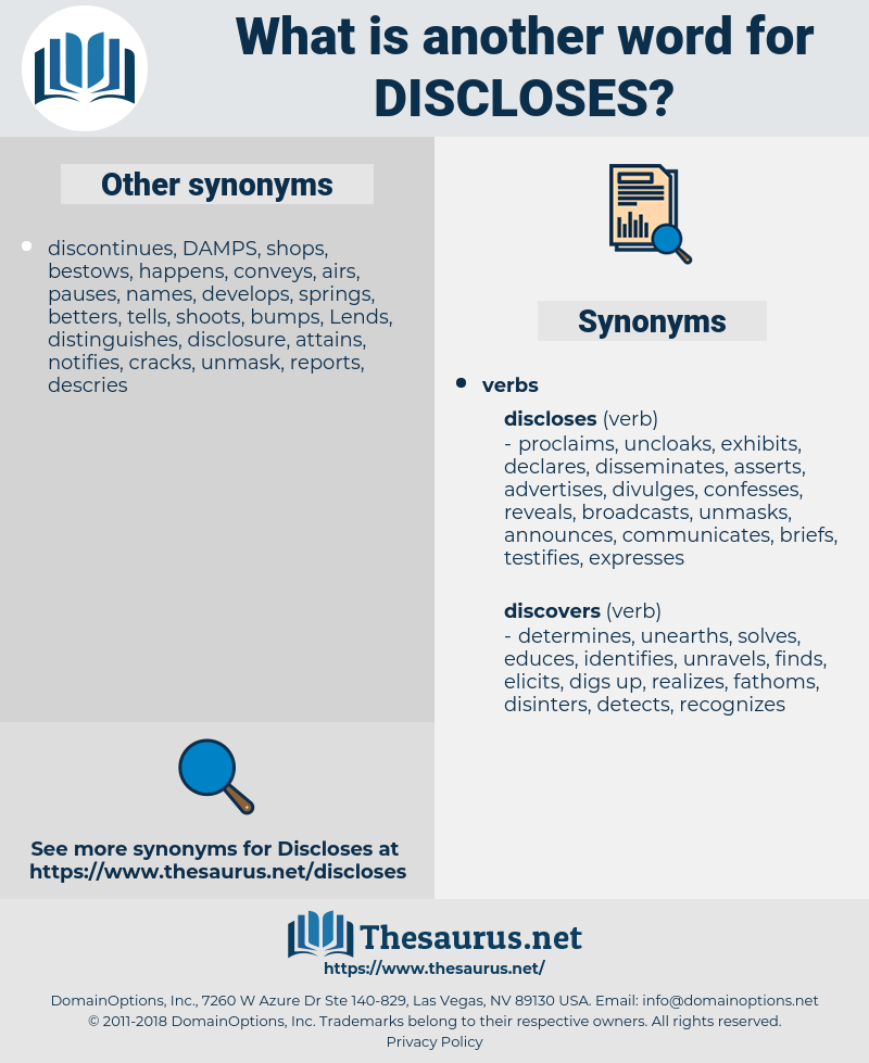 discloses, synonym discloses, another word for discloses, words like discloses, thesaurus discloses