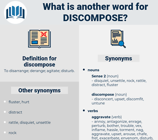 discompose, synonym discompose, another word for discompose, words like discompose, thesaurus discompose