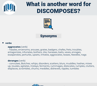 discomposes, synonym discomposes, another word for discomposes, words like discomposes, thesaurus discomposes