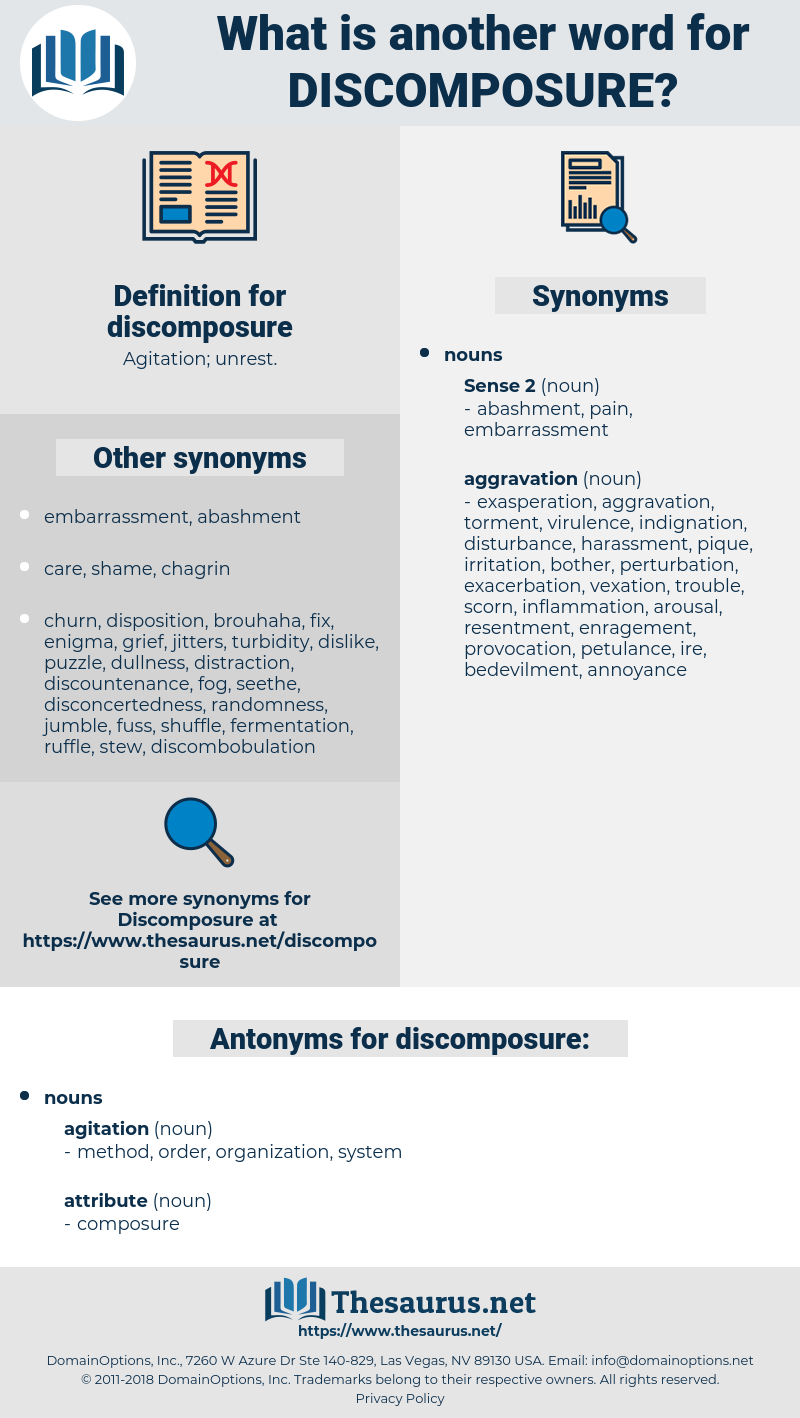 discomposure, synonym discomposure, another word for discomposure, words like discomposure, thesaurus discomposure
