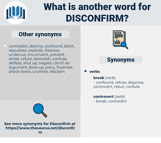disconfirm, synonym disconfirm, another word for disconfirm, words like disconfirm, thesaurus disconfirm
