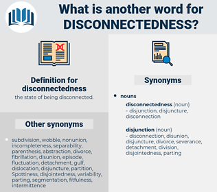 disconnectedness, synonym disconnectedness, another word for disconnectedness, words like disconnectedness, thesaurus disconnectedness