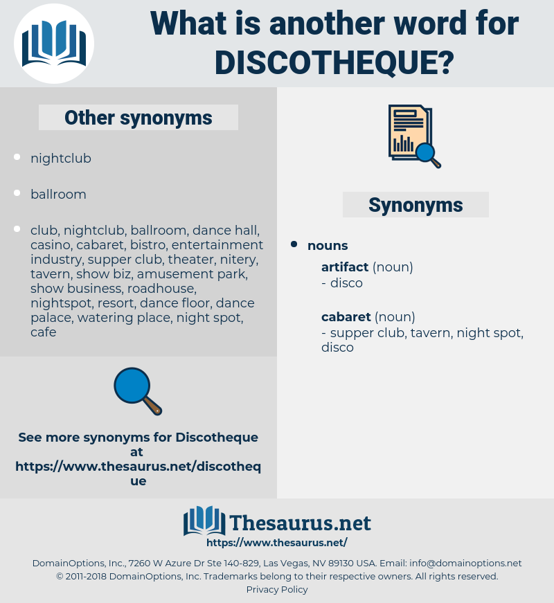 discotheque, synonym discotheque, another word for discotheque, words like discotheque, thesaurus discotheque