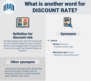 discount rate, synonym discount rate, another word for discount rate, words like discount rate, thesaurus discount rate