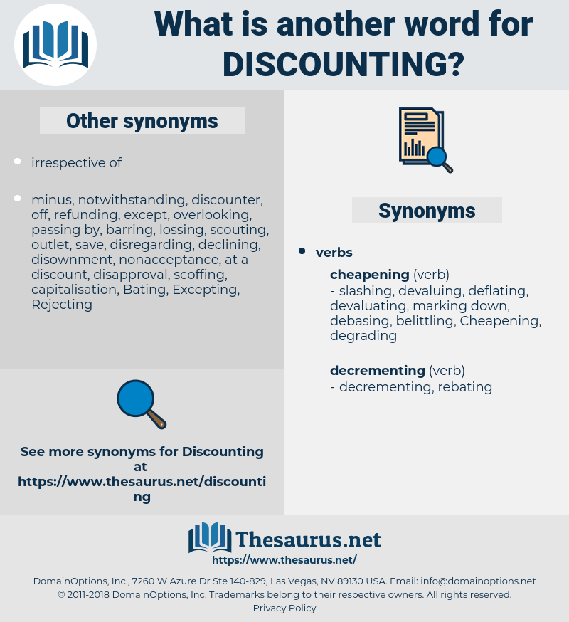 Discounting, synonym Discounting, another word for Discounting, words like Discounting, thesaurus Discounting
