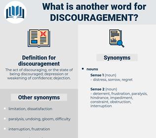 discouragement, synonym discouragement, another word for discouragement, words like discouragement, thesaurus discouragement