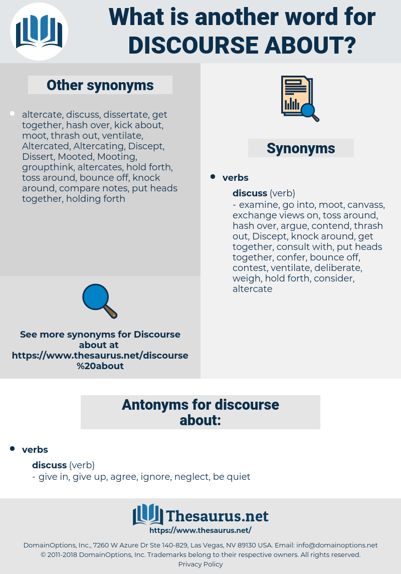 discourse about, synonym discourse about, another word for discourse about, words like discourse about, thesaurus discourse about