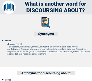 discoursing about, synonym discoursing about, another word for discoursing about, words like discoursing about, thesaurus discoursing about