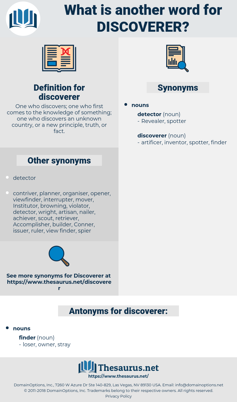 discoverer, synonym discoverer, another word for discoverer, words like discoverer, thesaurus discoverer