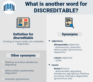 discreditable, synonym discreditable, another word for discreditable, words like discreditable, thesaurus discreditable