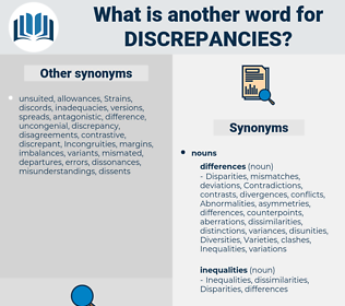 discrepancies, synonym discrepancies, another word for discrepancies, words like discrepancies, thesaurus discrepancies