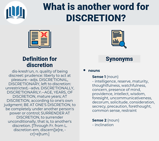 discretion, synonym discretion, another word for discretion, words like discretion, thesaurus discretion
