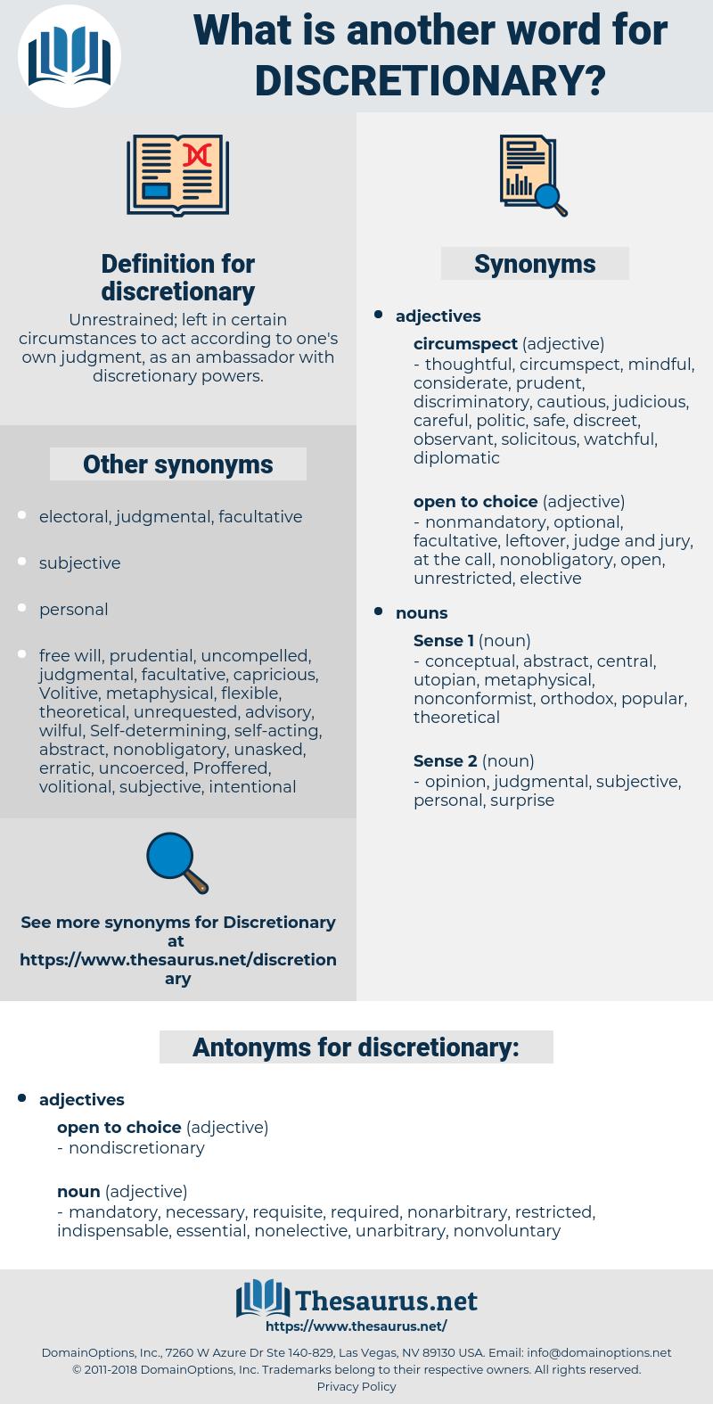 discretionary, synonym discretionary, another word for discretionary, words like discretionary, thesaurus discretionary