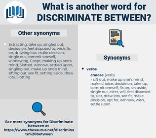 discriminate between, synonym discriminate between, another word for discriminate between, words like discriminate between, thesaurus discriminate between