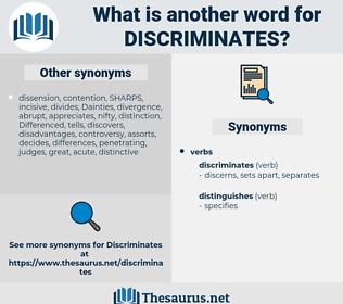 discriminates, synonym discriminates, another word for discriminates, words like discriminates, thesaurus discriminates