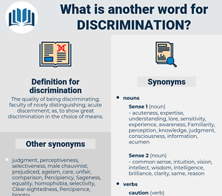discrimination, synonym discrimination, another word for discrimination, words like discrimination, thesaurus discrimination