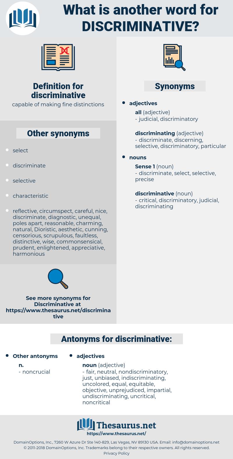 discriminative, synonym discriminative, another word for discriminative, words like discriminative, thesaurus discriminative