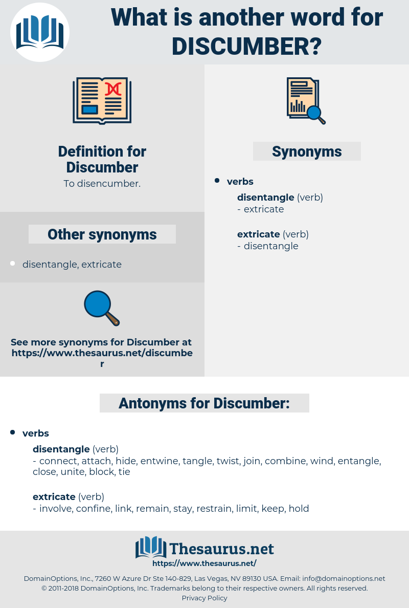 Discumber, synonym Discumber, another word for Discumber, words like Discumber, thesaurus Discumber