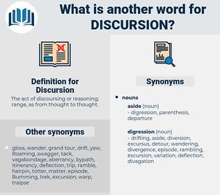 Discursion, synonym Discursion, another word for Discursion, words like Discursion, thesaurus Discursion