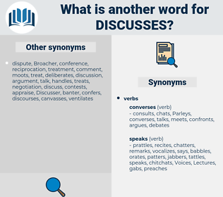 discusses, synonym discusses, another word for discusses, words like discusses, thesaurus discusses