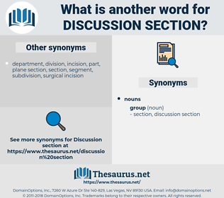 discussion section, synonym discussion section, another word for discussion section, words like discussion section, thesaurus discussion section