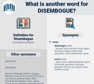 Disembogue, synonym Disembogue, another word for Disembogue, words like Disembogue, thesaurus Disembogue