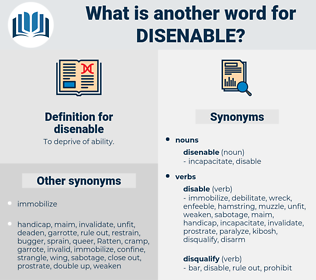 disenable, synonym disenable, another word for disenable, words like disenable, thesaurus disenable