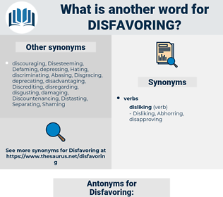 Disfavoring, synonym Disfavoring, another word for Disfavoring, words like Disfavoring, thesaurus Disfavoring