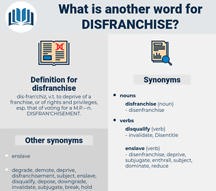 disfranchise, synonym disfranchise, another word for disfranchise, words like disfranchise, thesaurus disfranchise