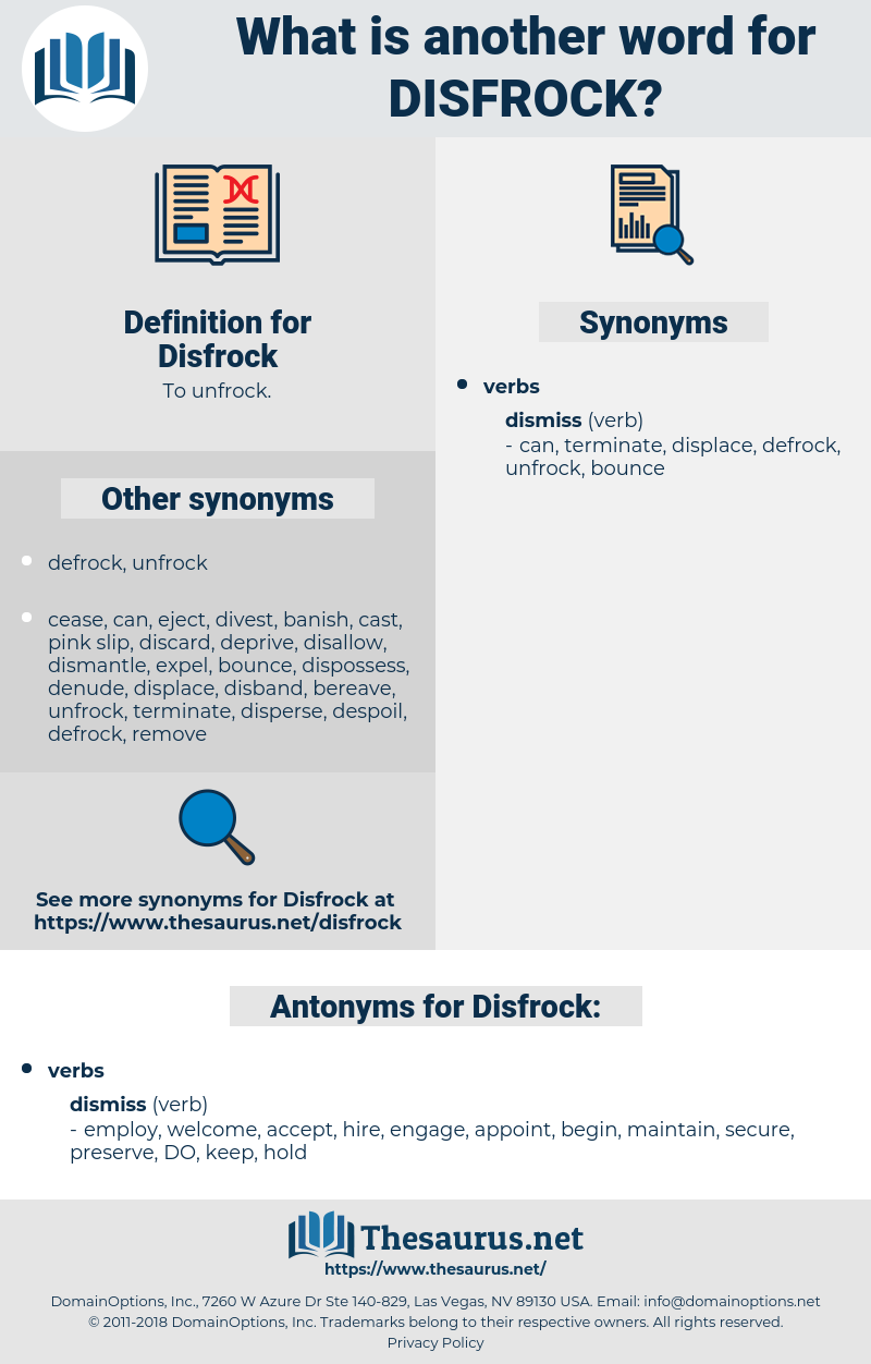 Disfrock, synonym Disfrock, another word for Disfrock, words like Disfrock, thesaurus Disfrock