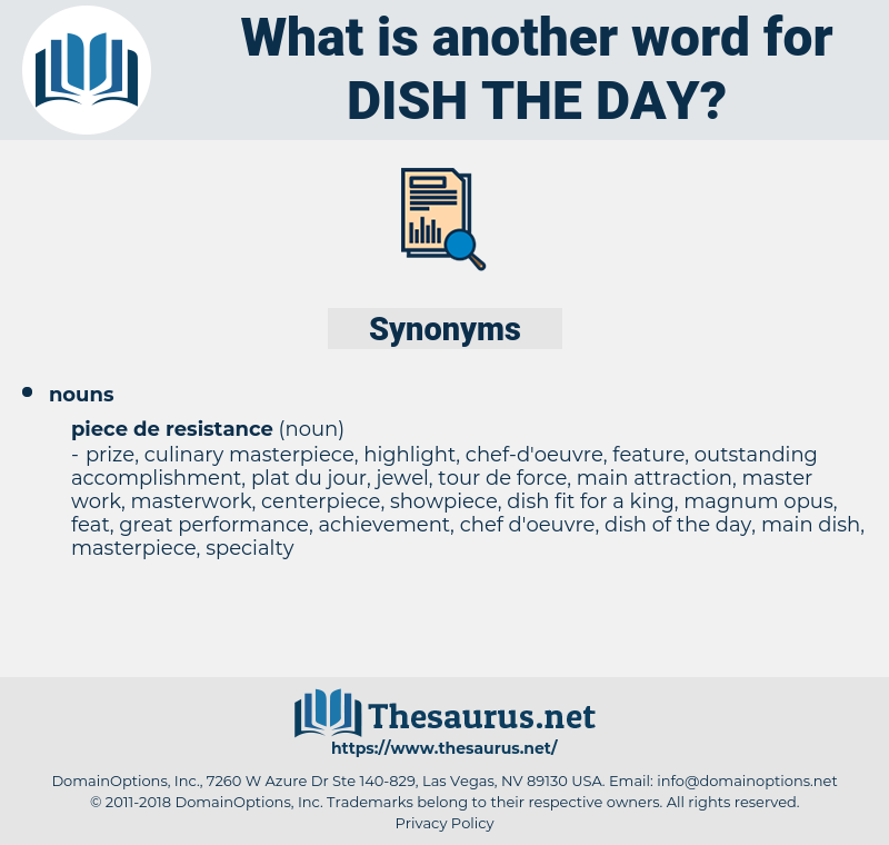 dish the day, synonym dish the day, another word for dish the day, words like dish the day, thesaurus dish the day