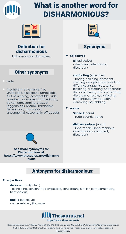 disharmonious, synonym disharmonious, another word for disharmonious, words like disharmonious, thesaurus disharmonious