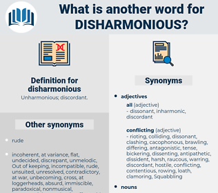 disharmonious, synonym disharmonious, another word for disharmonious, words like disharmonious, thesaurus disharmonious