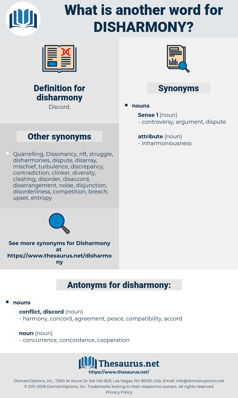 disharmony, synonym disharmony, another word for disharmony, words like disharmony, thesaurus disharmony