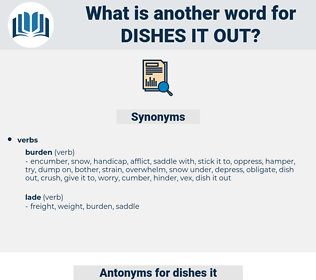 dishes it out, synonym dishes it out, another word for dishes it out, words like dishes it out, thesaurus dishes it out