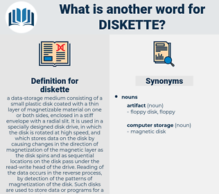 diskette, synonym diskette, another word for diskette, words like diskette, thesaurus diskette