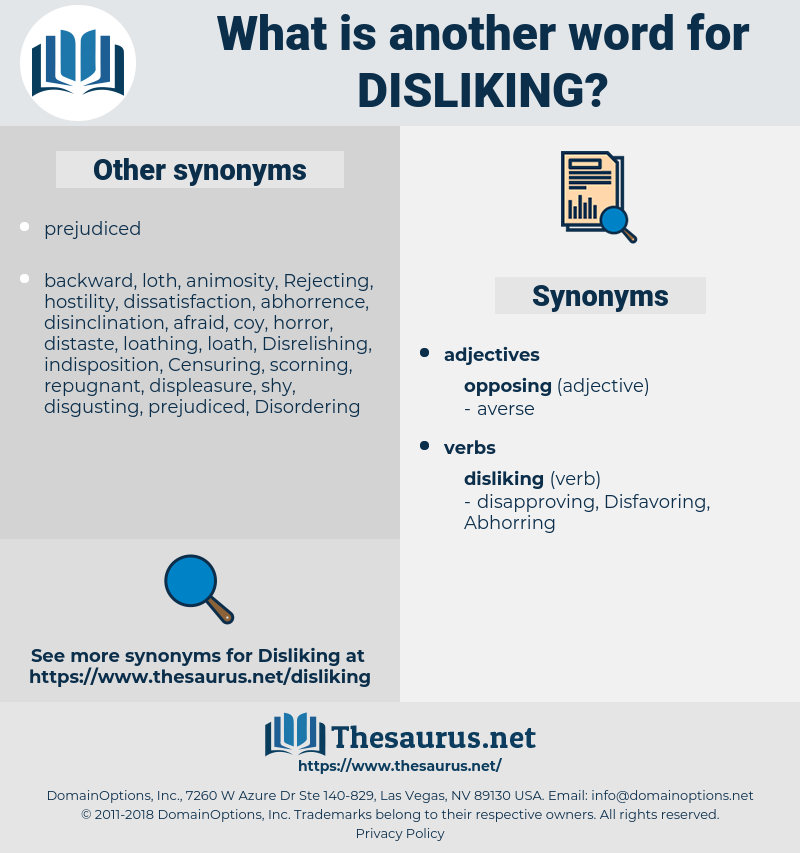 Disliking, synonym Disliking, another word for Disliking, words like Disliking, thesaurus Disliking