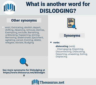 Dislodging, synonym Dislodging, another word for Dislodging, words like Dislodging, thesaurus Dislodging