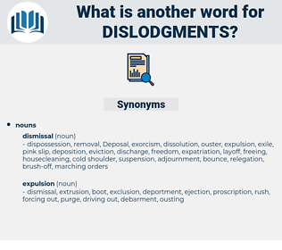 dislodgments, synonym dislodgments, another word for dislodgments, words like dislodgments, thesaurus dislodgments