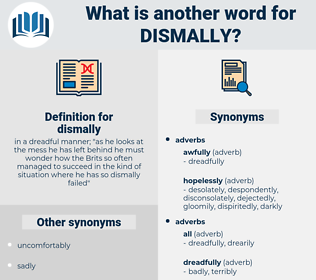 dismally, synonym dismally, another word for dismally, words like dismally, thesaurus dismally