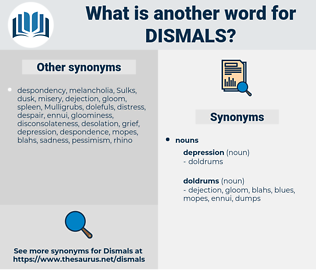 dismals, synonym dismals, another word for dismals, words like dismals, thesaurus dismals